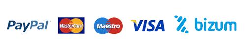Formas de pago PAYPAL BIZUM VISA